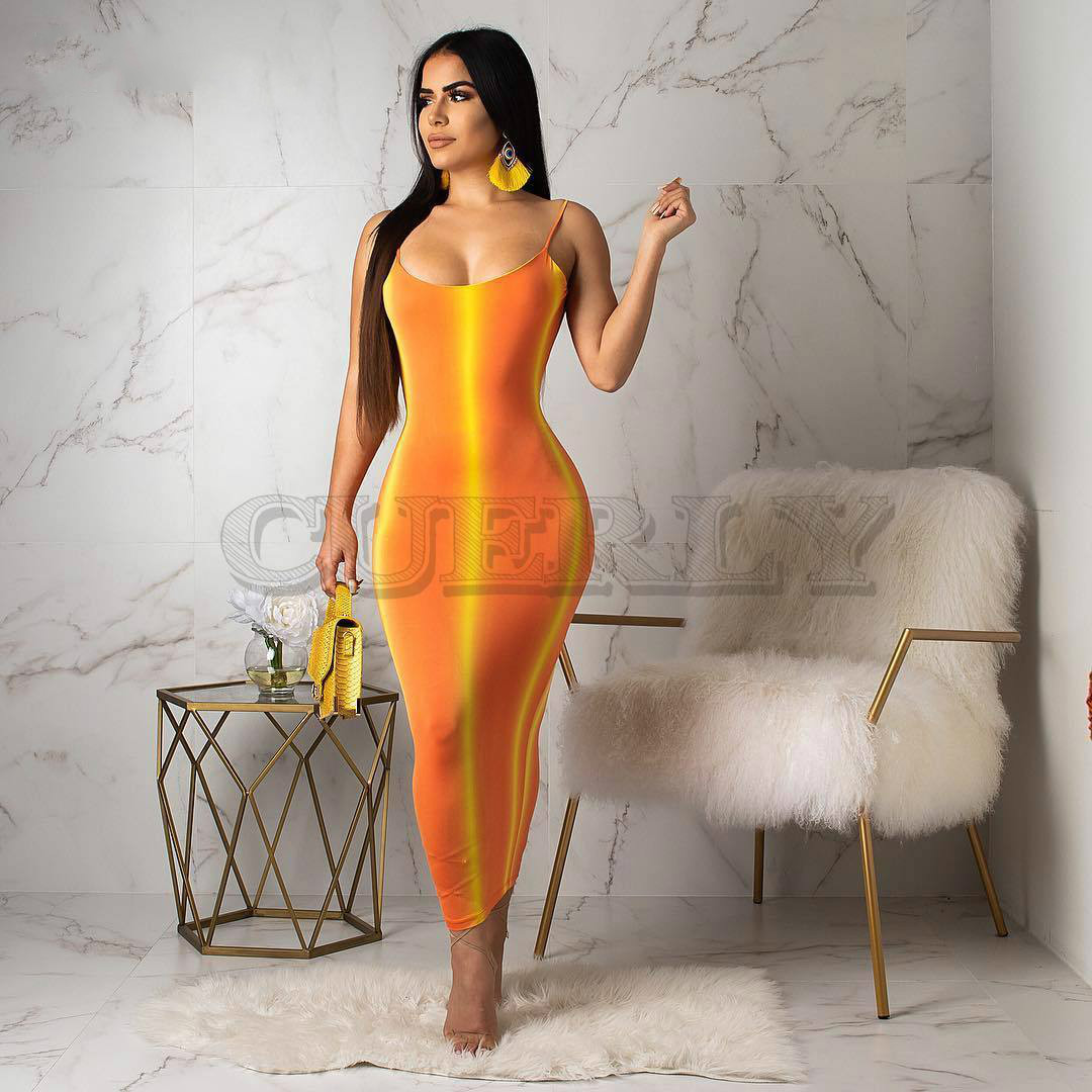 Gradient Striped Sexy Bodycon Dress Women Neon Orange CUERLY Strap Backless Party Summer O Neck Sleeveless Beach