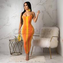 Gradient Striped Sexy Bodycon Dress Women Neon Orange CUERLY Strap Backless Party Summer O Neck Sleeveless Beach