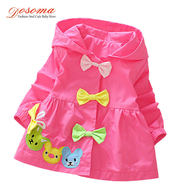 Baby Girls Jacket Clothes 2017 Spring Cotton Sweet Newborn Baby Bow Cartoon Bear Hooded Windbreaker For Girls Jackets And Coats