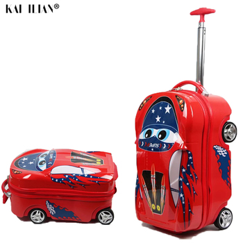 New 3D Kids Suitcase on wheels car trolley luggage travel cabin suitcase for boys suitcase Children cartoon Rolling luggage