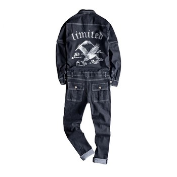 Mcikkny Spring Autumn Men's Cargo Denim Bib Overalls Eagle Embroidery Jeans Jumpsuits For Male Suspender Pants
