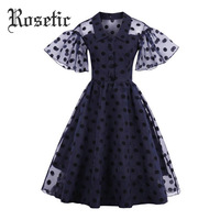 Rosetic Vintage Dress Polka Dots A Line Women Summer Retro Dress 1950s Polka Dots Dark Blue