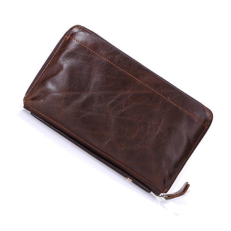 2019 NEW Brand Mens Wallet Zipper Genuine Leather Bag Vintage Solid Clutch Bag Phone Cases Male Coins Purses Wallet