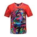 Estilo Harajuku verão homens / women ' s estrelas t camisas 3D impresso 2Pac Tupac tie dye t - shirt hip hop rocha caractere impresso camiseta