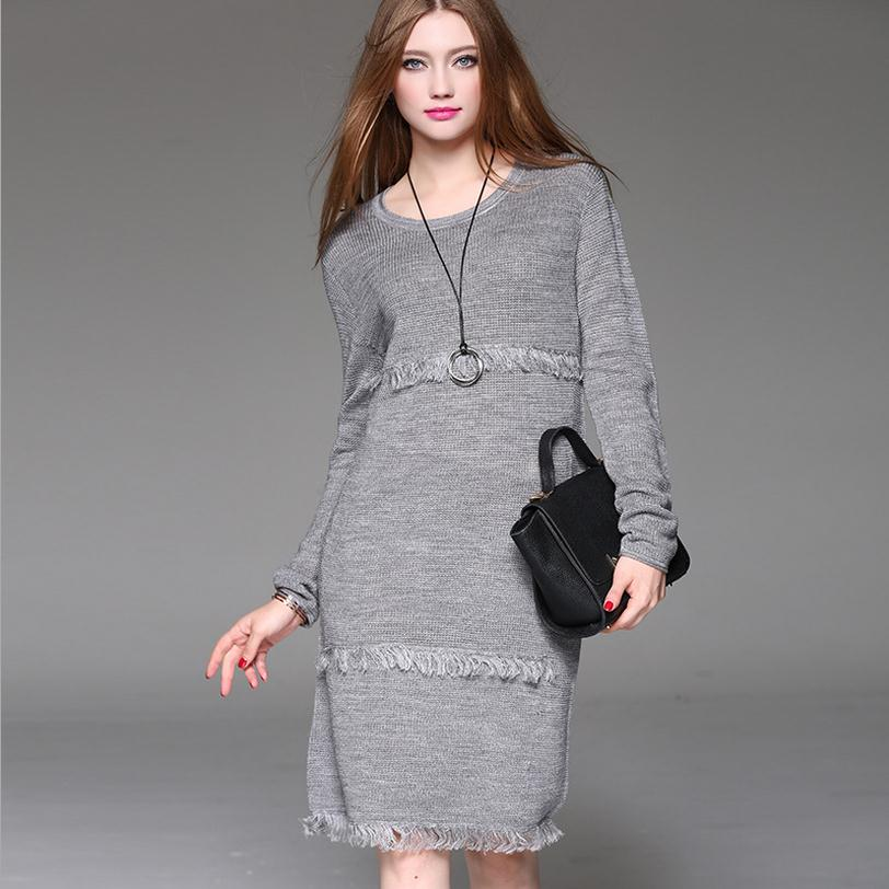 Wholesale 2018 autumn and winter new womens Europe and America fashion brand solid thicker sweater tassel knit dress w1733