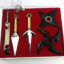 Anime Naruto Ninja weapon prop Cosplay Model Metal Sword Knife 5pcs/set