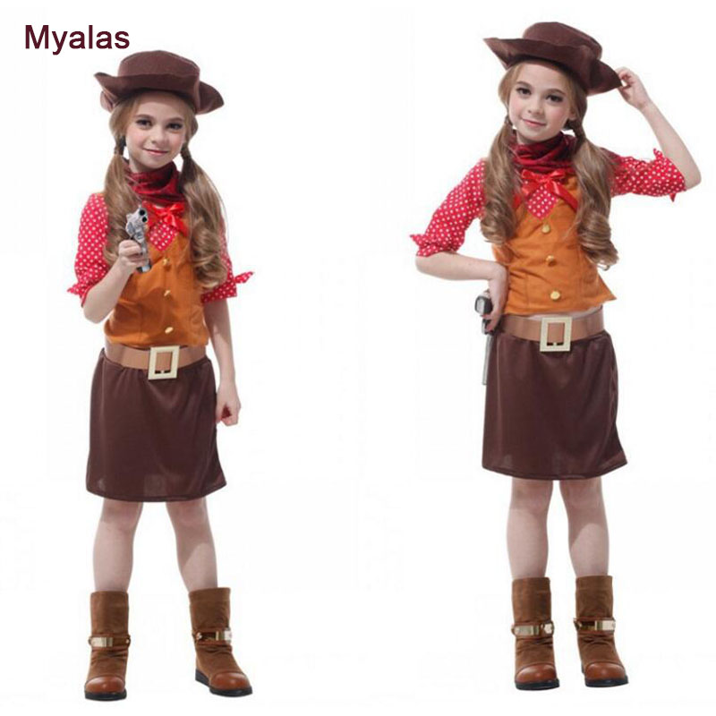 Girl Cowboy Cosplay Costume For Halloween Costume For Children Kids 4 to 10 Years Old Girl Cosplay Costume Christmas Dress