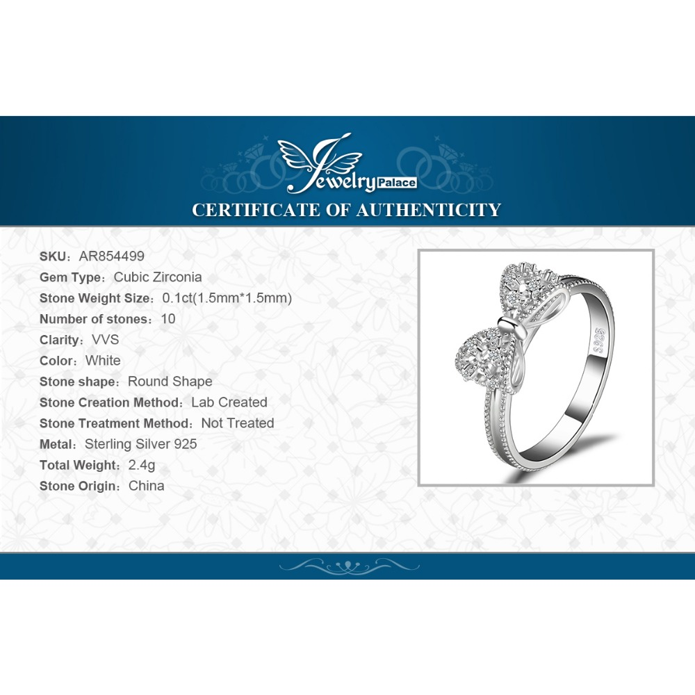 Купить с кэшбэком JewelryPalace Bow knot Anniversary Cubic Zirconia Rings 925 Sterling Silver Rings for Women Silver 925 Jewelry Fine Jewelry