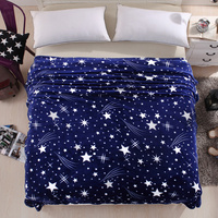 Hot Sale Cheap Bright Star Blue Blanket Coral Fleece Blankets on The Bed King Queen Full Twin Size Bedclothes Free Shipping