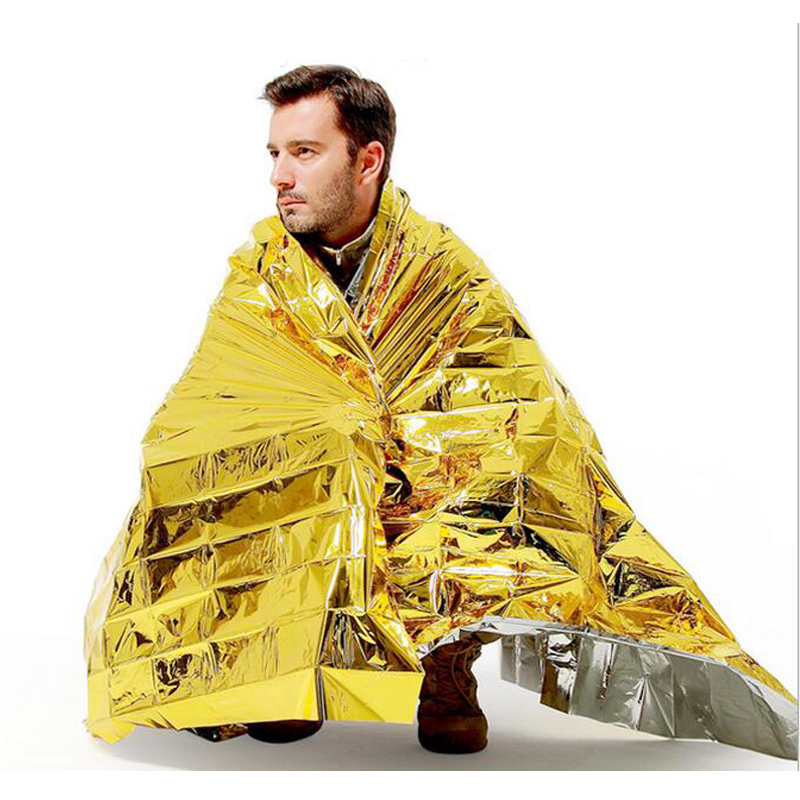 Emergency Blanket  Water Proof  Survival Rescue Kit Foil Thermal Space First Aid  Rescue Curtain Military Blanket