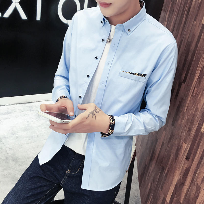 2017 Fashion font b Men s b font Casual Long Sleeve font b Shirt b font