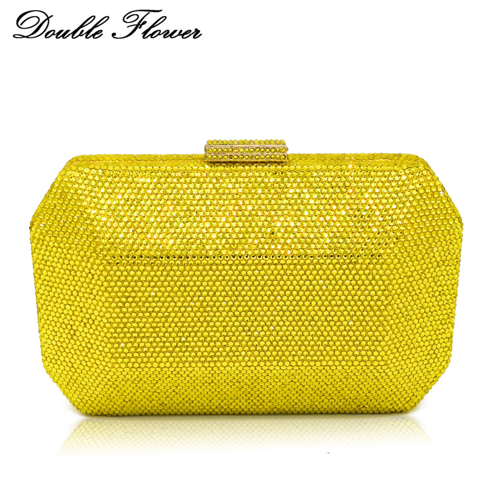 Double Flower Dazzling Yellow Crystal Women Evening Clutch Wedding Cocktail Metal Clutches Handbag and Purse Chain Shoulder Bag-in Top-Handle Bags from Luggage & Bags    1