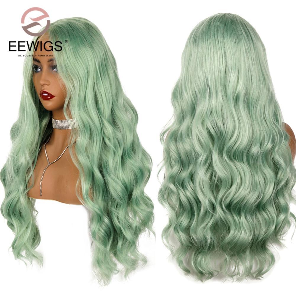 Partie centrale longue vague de corps dentelle perruque haute température 180% densité menthe vert synthétique dentelle avant perruques pour les femmes noires