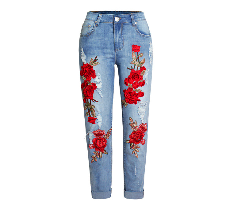 2017 Europe and the United States new women stretch loose jeans women trousers color flowers 3D stereo embroidery holes jeans (6)