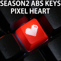 Novelty Shine Through Keycaps ABS Etched  Shine-Through pixel heart black red custom mechanical keyboards light oem profile