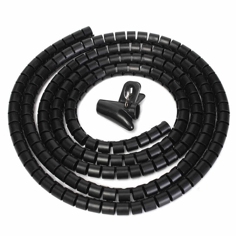 8/16/22/32 mm 1M Wire Storage Tube Clips Cable Sleeve Organizer Pipe Wrap Cord Protector Flexible Spiral Management Device