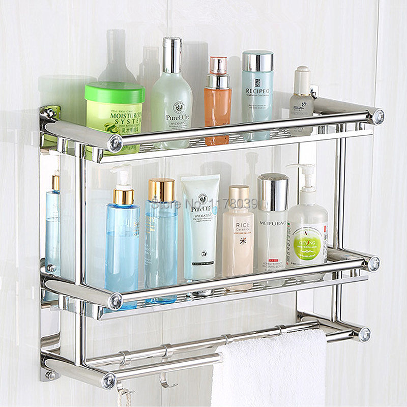 Buy Suction Wall Stainless Steel Bathroom Towel Racks No Drilling Hole Towel