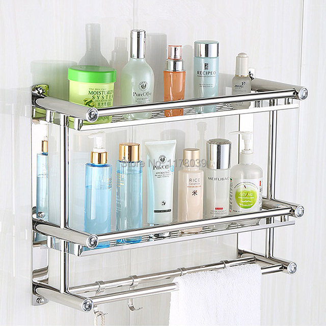 Suction Wall Stainless Steel Bathroom Towel Racks No Drilling Hole Rack With Shelf Double