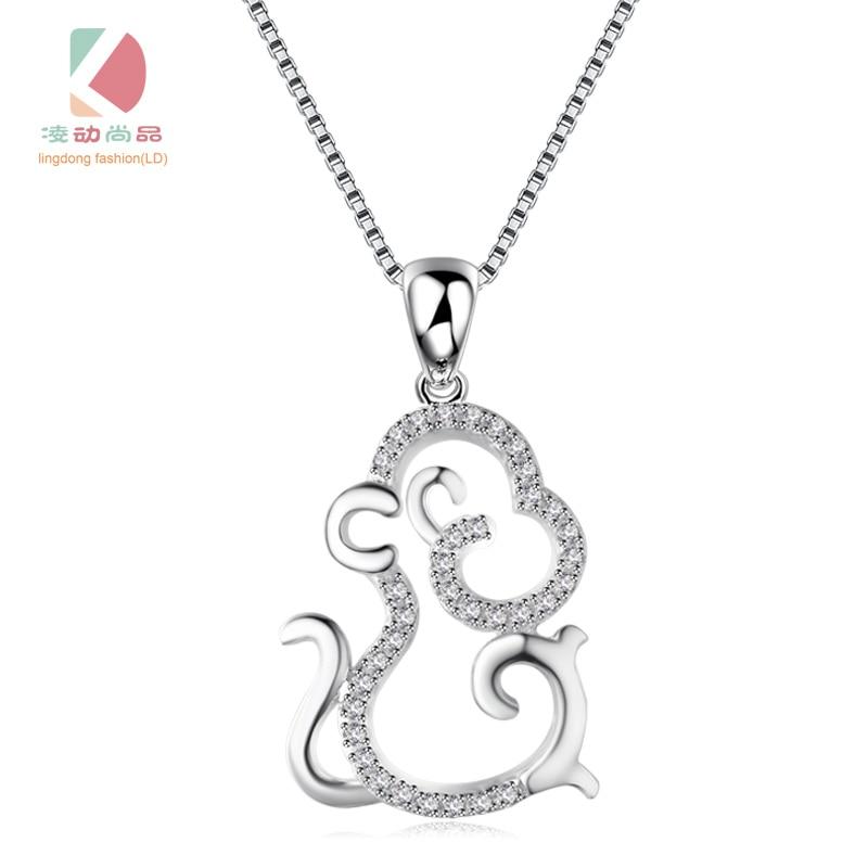 s925 stříbrný přívěsek opice série Micro mozaika krásné osobní sexy náhrdelník Lingdong módní značky