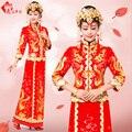 2017 Dragón vestido de la novia Top y falda tostada de la boda vestido cheongsam rojo estilo chino de la vendimia Cantonés Guangdong Yue bordado
