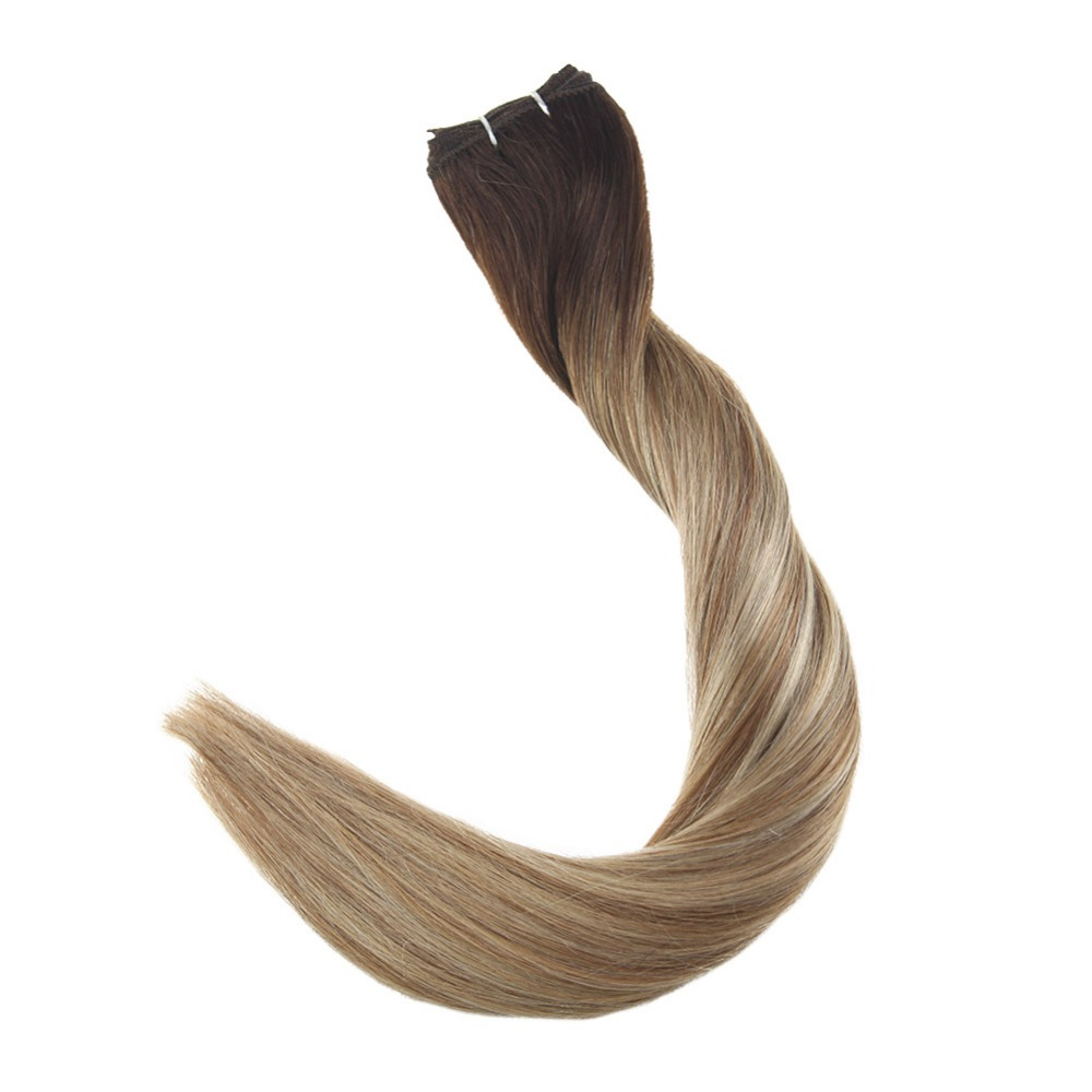 Full Shine Human Hair Bundles Hair Weft Extensions Sew In Hair Balayage Color #3 Fading To #8 And #22 100% Machine Made Remy