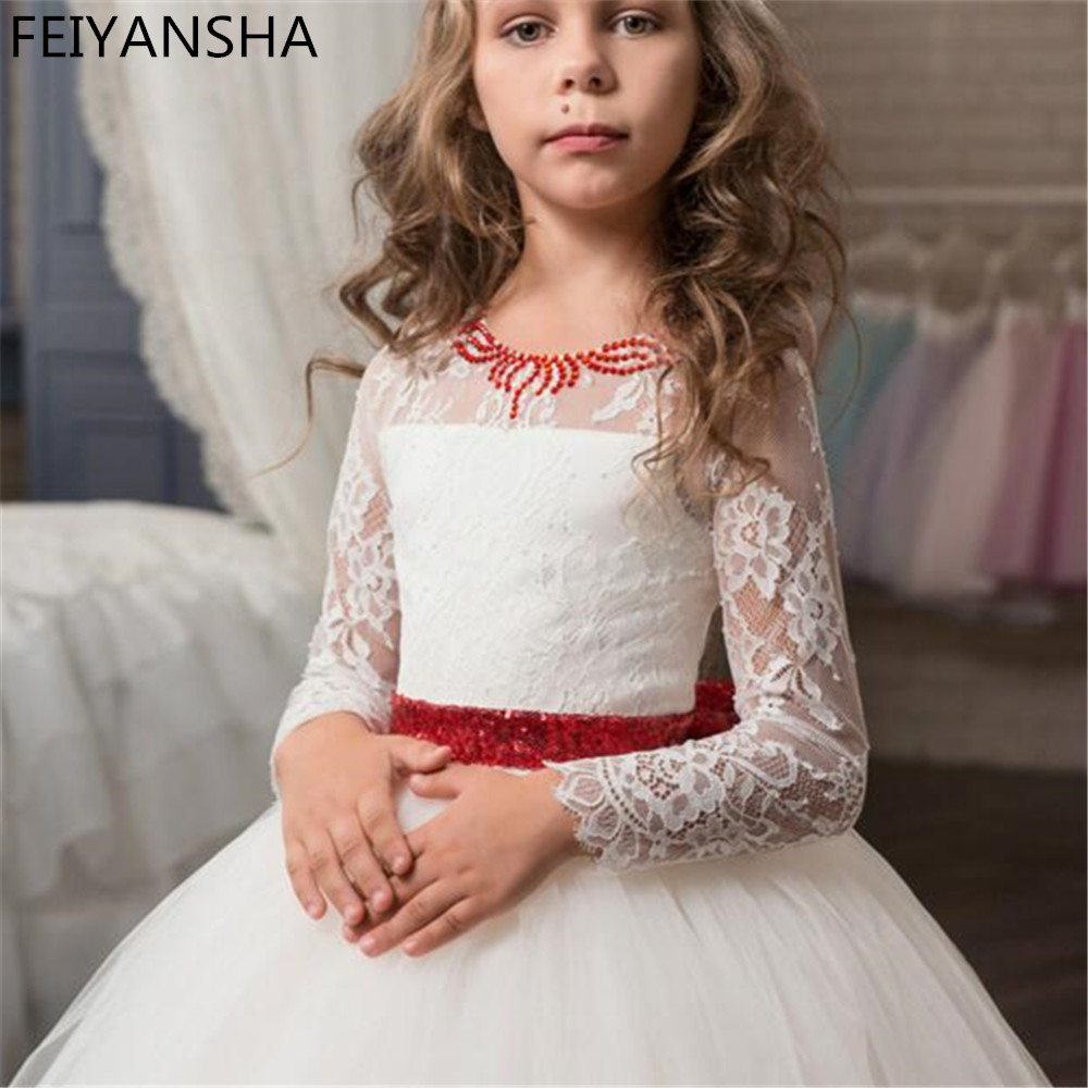 Lace Ball Gown   Flower     Girl     Dress   For Weddings with Sleeveless   Girl   Pageant Gowns First Communion   Dresses   2018 Vestido Long