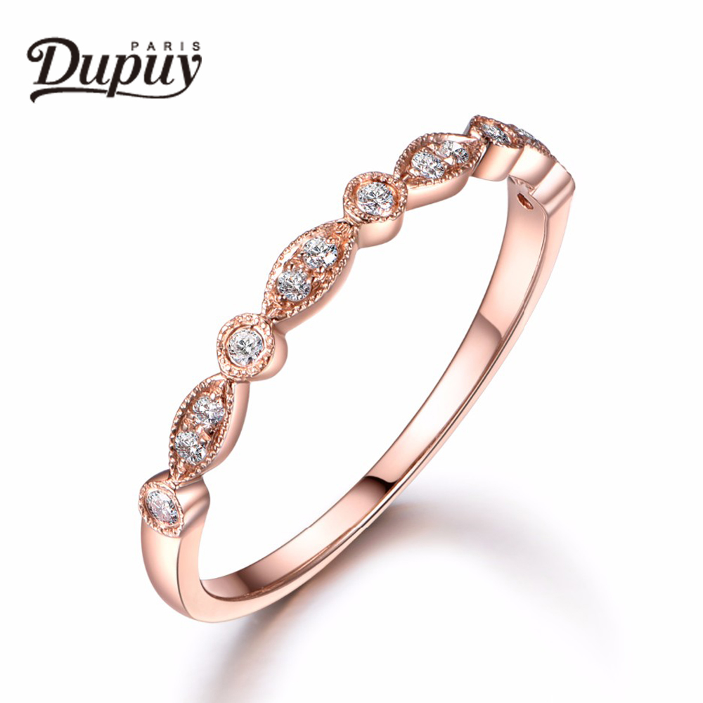 DUPUY 2018 New Hot Sale Diamonds Ring Milgrain Match Ring 14K Rose Gold Ring Art Deco Ring DIY Fashion Round Shape B0039D new pure au750 rose gold love ring lucky cute letter ring 1 13 1 23g hot sale