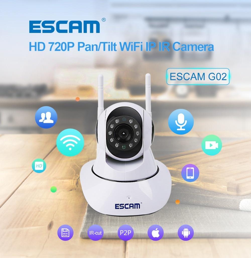 Güvenlik ve Koruma'ten Gözetim Kameraları'de ESCAM G02 720 P Kablosuz WIFI IP Dome Kamera interkom sistemi