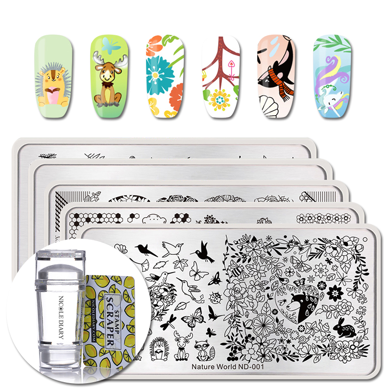 NICOLE DIARY 5Pcs Nail Art Stamping Plate With Stamper Scraper Nature World Floral Sea Horse Rabbit Nail Stampimg Template