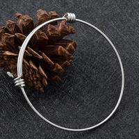 IJB0214 Discount 1 8mm Silver 316L Stainless Steel Expandable Wire Bangle Bracelet Adjustable Bracelets With Free