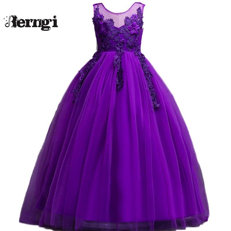 3bfc967ce Berngi sin mangas de encaje romántico Puffy flor niño niña vestido para  vestido de baile de boda niños fiesta comunión vestido desfile vestido