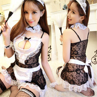 Sex Product Maid Sexy Costumes Women Teddy Lingerie Sexy Hot Erotic Lace See Through Maid Uniform