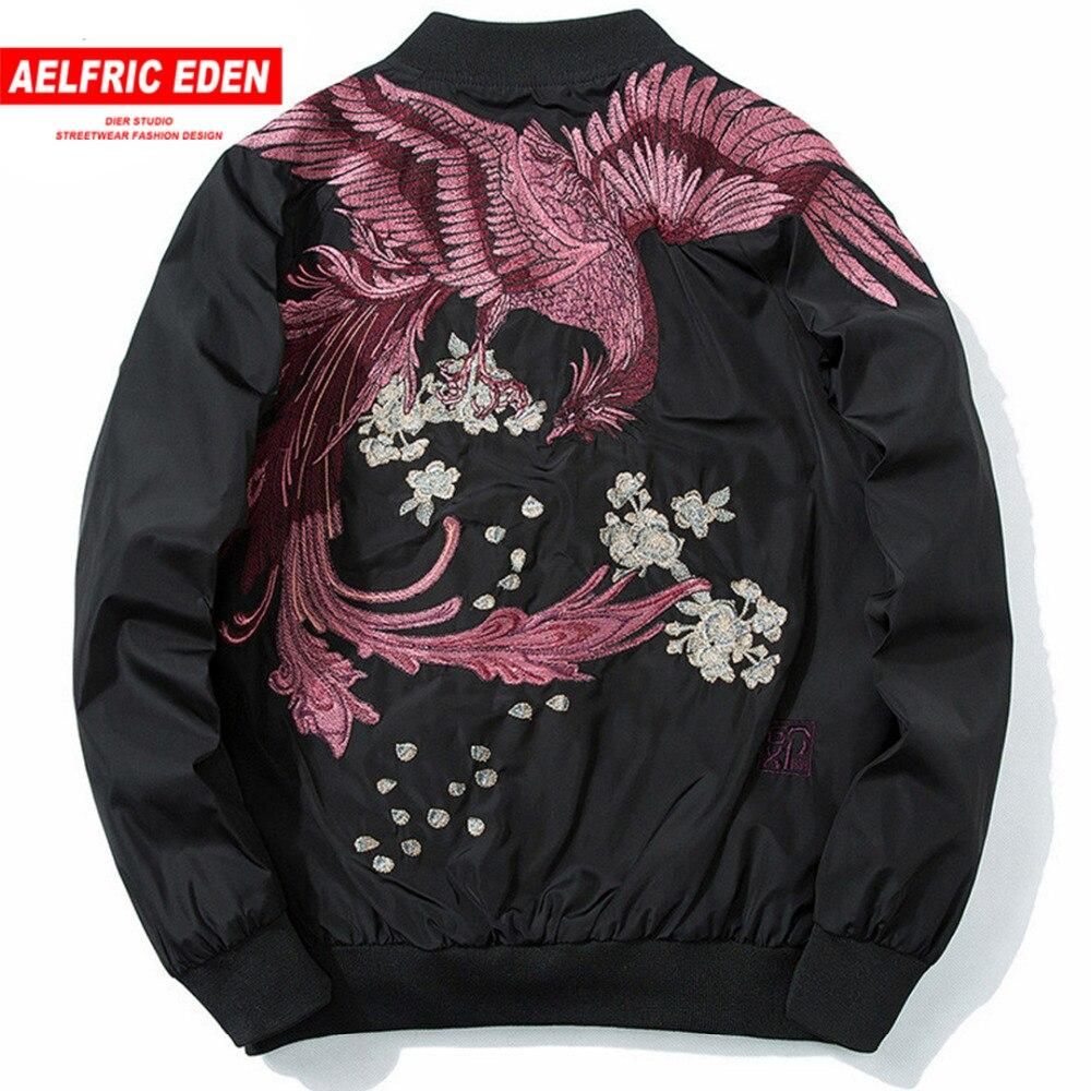 Aelfric Eden Phoenix Embroidery Bomber Jacket Coat 2020 Spring Japanese Streetwear Casual Outwear Hip Hop Bomber Jackets XS-XXXL