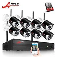 ANRAN H 264 8CH Wifi NVR Network Video Recorder Wireless CCTV System1080P HD Mini Bullet Wifi