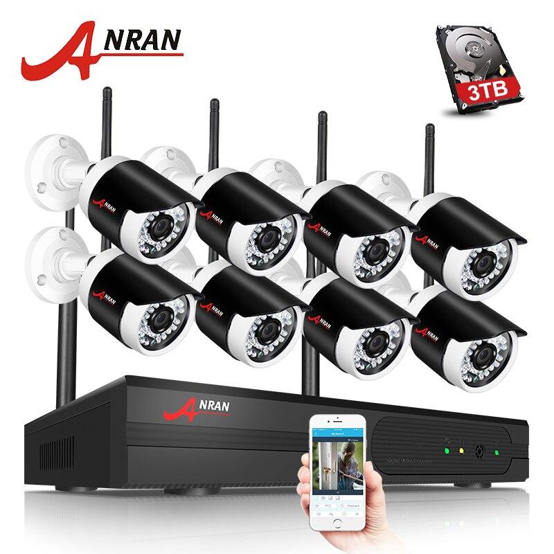 ANRAN H.265 8CH NVR Wifi Système de Caméra de Sécurité Sans Fil CCTV Caméra Système 2MP HD Bullet IP Caméra Vidéo Surveillance Système