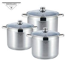 Mercury Haus 6PCS 7L-18.5L Stainless Steel Deep Casserole Soup Saucepan Pot Sets Mirror Polished Cookware Sets Induction Cooker цена 2017