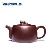 210ml Authentic Yixing Purple Clay Teapot Chinese Kung Fu Tea Set Raw Ore Zisha Toad Pot Art Drinkware Puer Kettle Send Friends