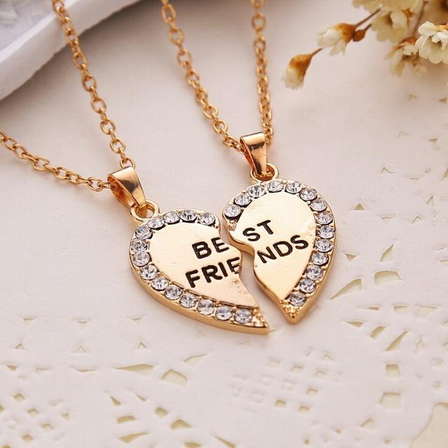 Splice Heart Pendant 1 Pair Best Friend Letter Choker Necklaces&Pendants Gold Silver Crystal Chain Necklace Set For Women Or Men