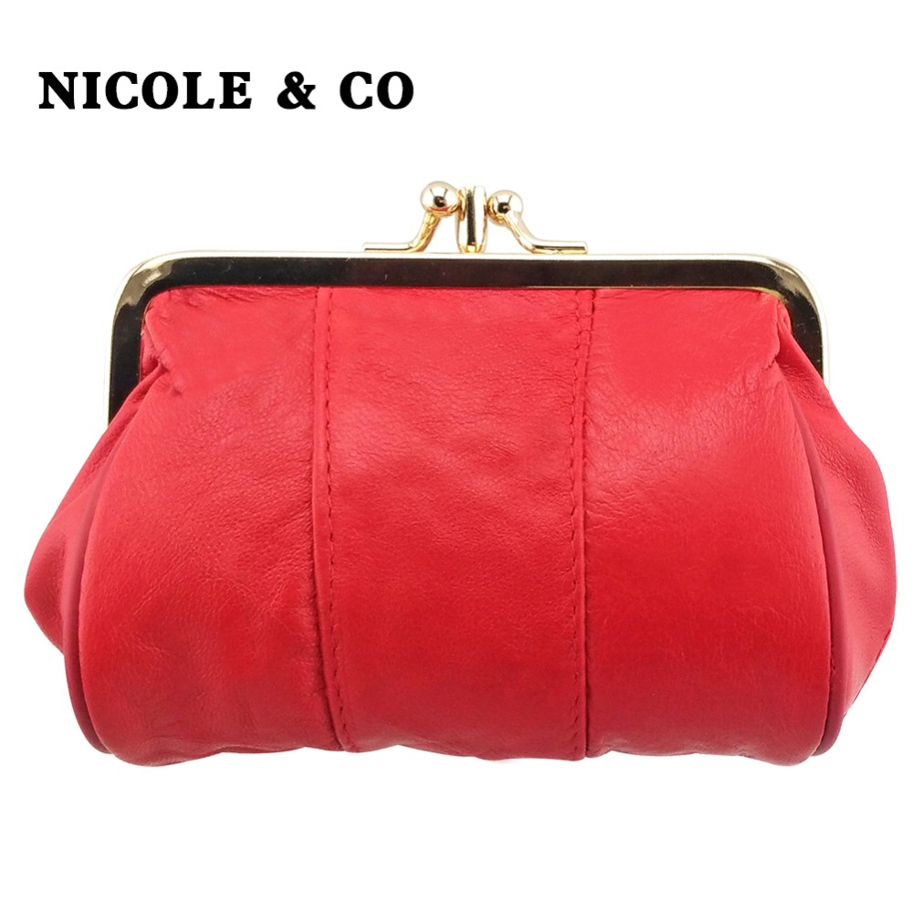 NICOLE amp CO Women 39 s Mini Wallet Genuine Leather Female Coin Purse Sheepskin Change Purse 2019fashion Woman Metal Hasp Wallet in Coin Purses from Luggage amp Bags