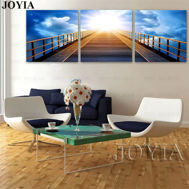 Captivating 3 Piece Fantastic Scene Paintings Blue Sky Painting On Canvas Prints Bridge  Sunrise Wall Pictures For