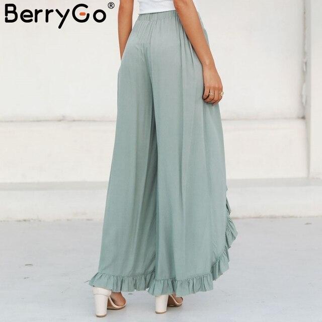 BerryGo Vintage ruffle casual pants capri High waist baggy split fashion pants women Retro wide leg female trousers bottoms 2018 4