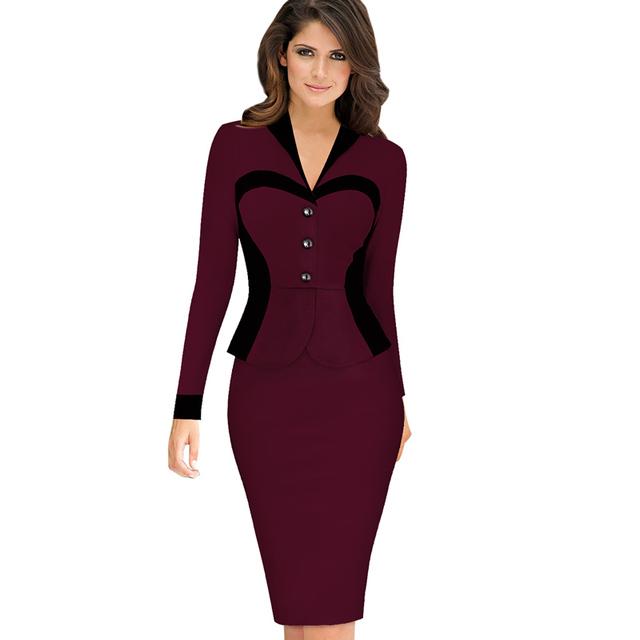 Esale mulheres elegante lapela Colorblock Optical Illusion Patchwork falso Twinset para escritório trabalho Bodycon vestido CGB9696