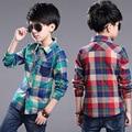 2016 Весна Осень Мальчики Плед Рубашки детская Одежда 100-150 см Высота Дети рубашки с длинным рукавом мальчиков Блузка отложным воротником