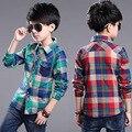 2016 Niños Del Otoño Del Resorte Camisas de Tela Escocesa de Los Niños Ropa 100-150 cm de Altura Niños camisas de los muchachos de la manga larga de La Blusa da vuelta-abajo