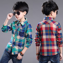 2018 Spring Autumn Boys Plaid Shirts Children s Clothing 100 150cm Height Kids shirts long sleeve