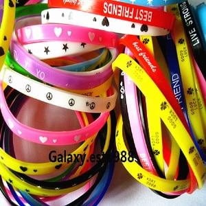 Image 3 - 100pcs silicone wristbands bracelet colorful rubber girls boys kids unisex bands sport bangle mixed design Wholesale lots bulk