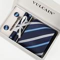 2016 corbatas y pañuelo + mancuernas + clip de corbata y caja regalo 5 sets corbata gravatas rayas navy azul y plata cravates