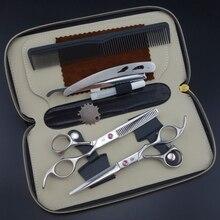 Profissional cabeleireiro tesoura conjunto 62hrc reta & corte de desbaste com pente, roupas, óleo s017