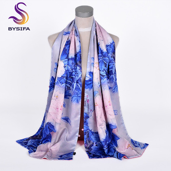Chinese Style Blue Pink Peony Silk Shawl Scarf – Elegant Long Shawls Wraps Warm Thick Scarves 175*50cm