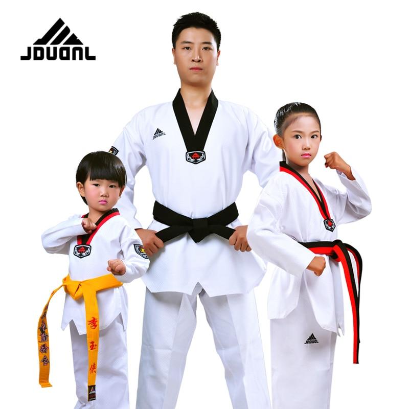 JDUanL 3XS-2XL 1 компл. высокое качество каратэ тхэквондо униформа Вт/белый дзюдо ремень для детей/взрослых добок костюмы одежда 2018 DEO